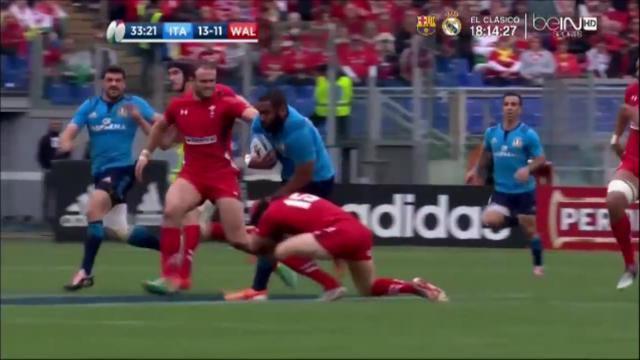 VIDEO. 6 Nations : l'impressionnant choc tête contre genou de Leigh Halfpenny sur Samuela Vunisa