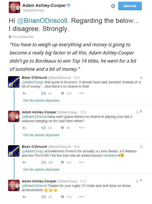 Brian O'Driscoll s'en prend à Adam Ashley-Cooper, le néo-Bordelais lui répond sur Twitter