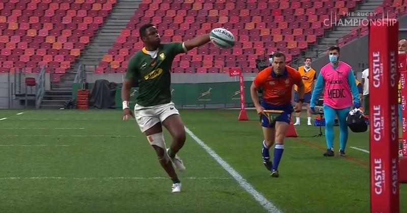 VIDEO. Aphelele Fassi n'avait pas oublié la colophane avant le match pour un sublime essai