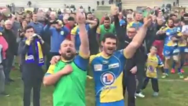 VIDÉO. Fédérale 1 Elite - Aubenas fête sa belle victoire sur Nevers en chanson
