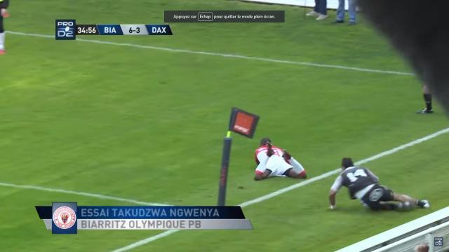 VIDEO. Pro D2 - Biarritz Olympique : Takudza Ngwenya met les cannes et dépose la défense pour l'essai de 75M