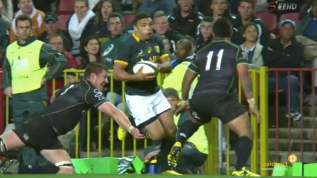 VIDÉO. Springboks - XV Mondial : Bryan Habana offre l'essai à Willie le Roux avec une superbe passe après-contact