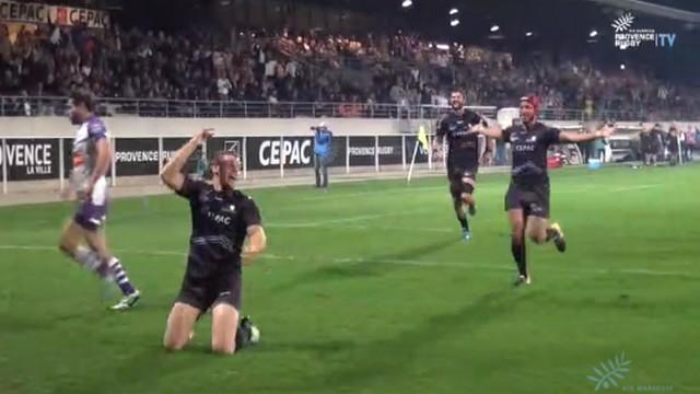 VIDEO. Fédérale 1 Elite - Provence Rugby. Charles Brousse conclut une action de 60m face à Bourg-en-Bresse