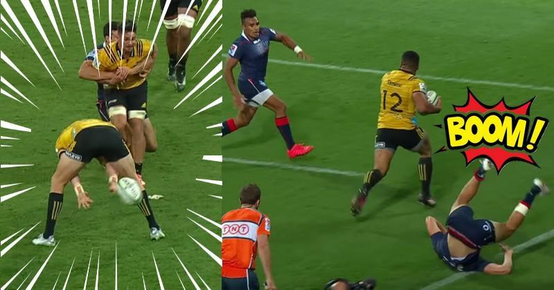 VIDÉO. Super Rugby - D'une passe entre les jambes, Barrett envoie le bulldozer Laumape à l'essai