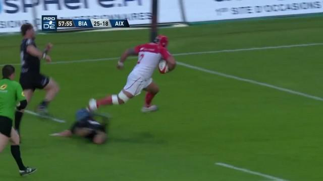 VIDÉO. Pro D2. Le talonneur de Biarritz Elvis Levi s'amuse dans la défense de Provence Rugby avec un triplé