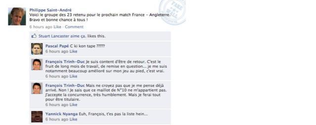 Exclusif : Les joueurs du XV de France réagissent à l'annonce des 23 sur Facebook