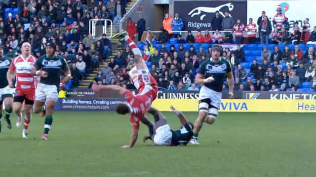 VIDEO. Premiership : Foot ou rugby ? Henry Trinder s'envoie en l'air avec Gloucester