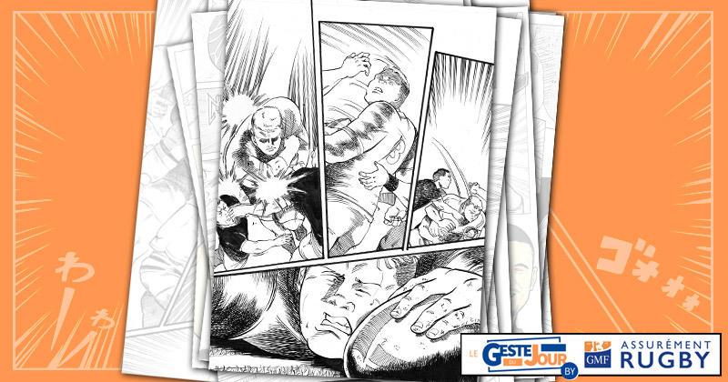Le geste du jour en manga : Furlong envoie valdinguer quatre Samoans pour l'essai en force