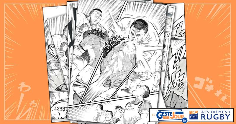 Le geste du jour en Manga : le tampon de Kapeli sur Vunipola