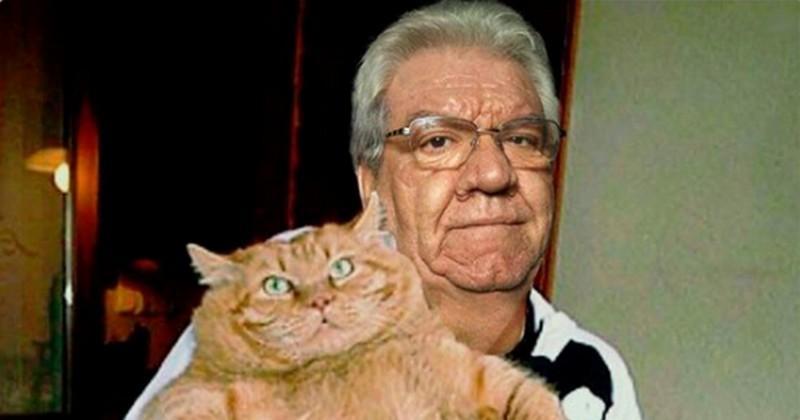 PHOTO. INSOLITE. Paul Goze pose avec la ''chatte à Dédé'' Deschamps