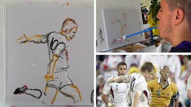 Henry Fraser, ce jeune rugbyman devenu peintre avec la bouche après un accident