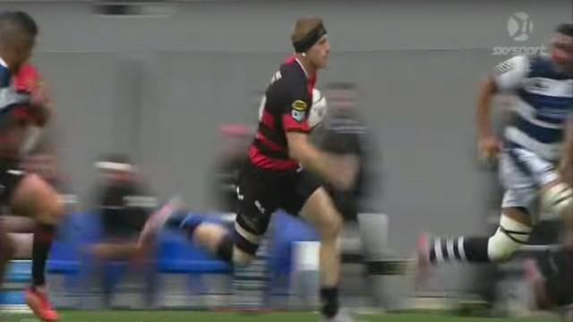 VIDEO. ITM Cup. Johnny McNicholl fait admirer sa classe et sa vitesse dans la défense d'Auckland