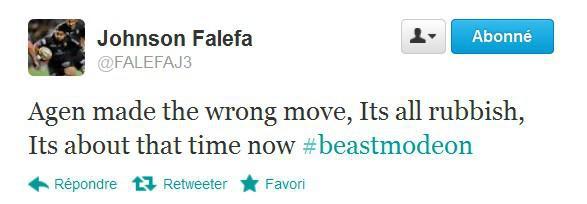 Mise à pied de Falefa après un tweet fleuri au sujet des dirigeants agenais