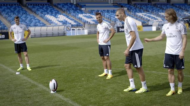 VIDEO. Karim Benzema, Gareth Bale et les joueurs du Real Madrid se mettent au rugby