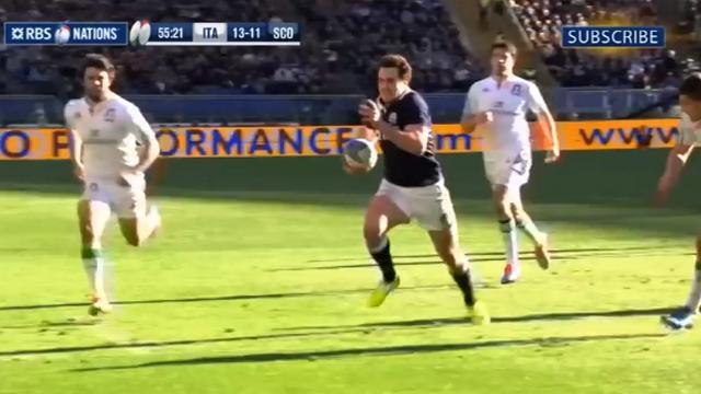 VIDEO. L'Écossais Alex Dunbar presque aussi rapide qu'Usain Bolt face à l'Italie