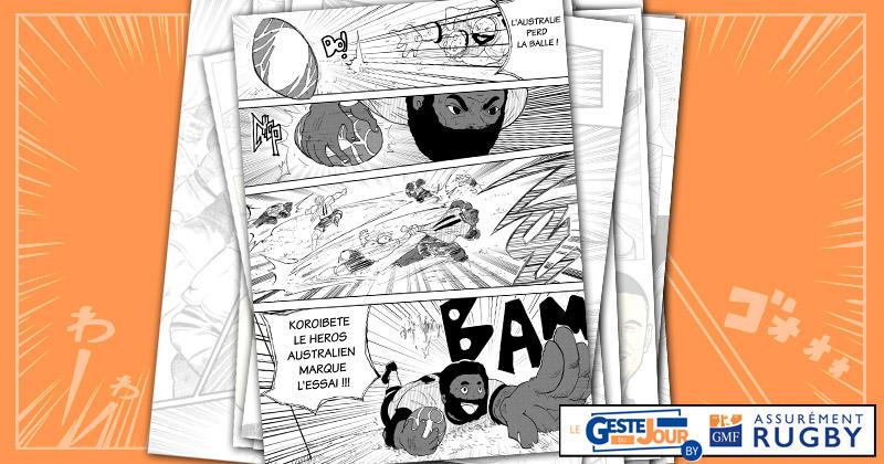Le geste du jour en manga : la fusée australienne Koroibete passe en revue la défense géorgienne