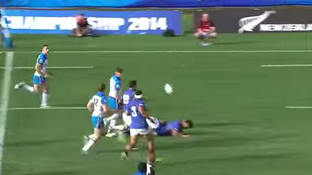 VIDEO. Coupe du Monde - 20 ans. La sublime passe après contact en aveugle de Paul Ah Him pour Nathaniel Apa