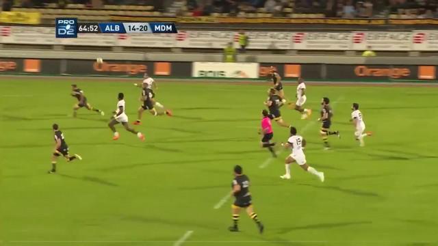 VIDEO. Pro D2 - Stade Montois. Matty James réalise la plus belle passe au pied de la saison pour l'essai  de Vilikisa Salawa