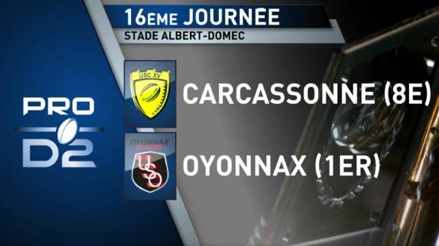 VIDEO. PROD2. Carcassonne l'emporte face à Oyonnax grâce à deux essais casquettes