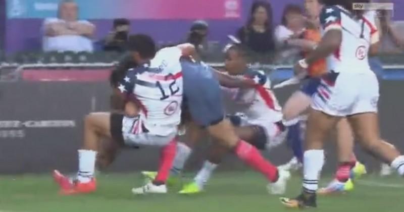 VIDEO. Hong Kong 7s - France 7. Lakafia marque avec deux Américains sur le dos mais ça ne suffit pas