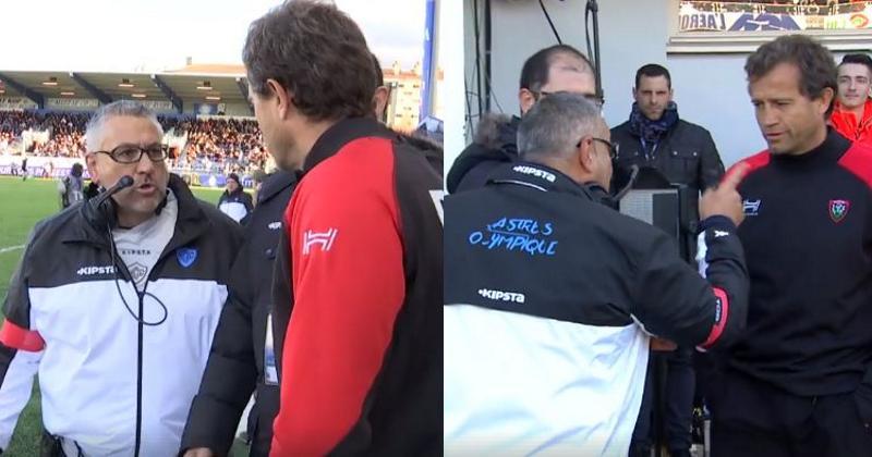 VIDÉO. Castres - RCT : l'altercation (avec le son !) entre Christophe Urios et Fabien Galthié