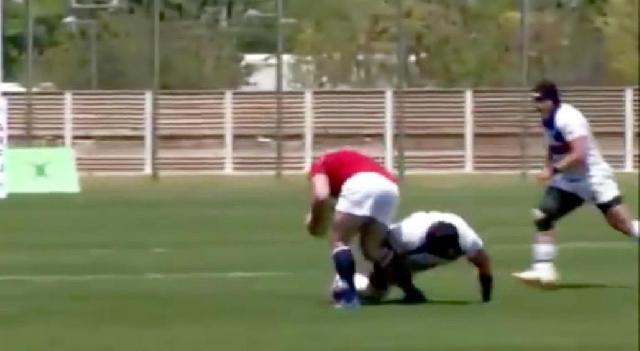VIDEO. Asia Rugby Championship. Le Coréen Kim Kwang Sik prend un rouge pour un plaquage saumon
