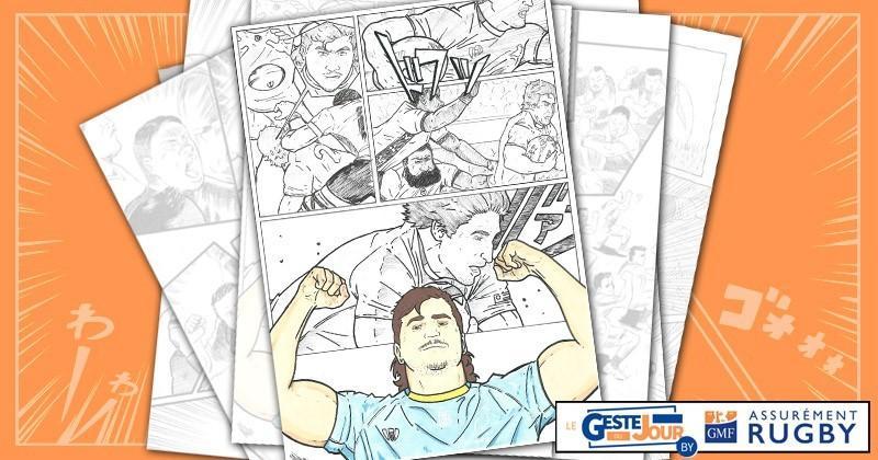 Le geste du jour en Manga : la chistera du talonneur de l'Uruguay pour l'essai