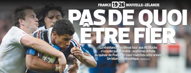 Le journal l'Equipe particulièrement dur avec le XV de France après la défaite face aux All Blacks