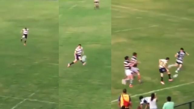 VIDEO. Le sublime enchaînement au pied d'un joueur argentin pour un essai de 65 mètres