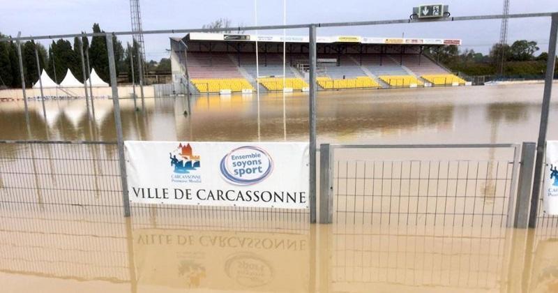 PHOTOS. Les stades de l'Aude sous l'eau après les fortes inondations dans le département