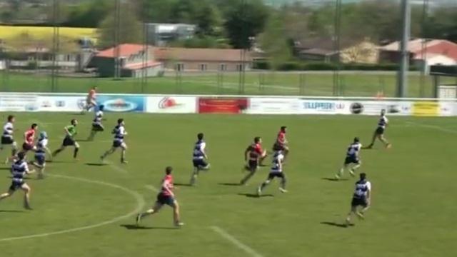 VIDEO. Rugby Amateur. Combinaison en touche, petit par-dessus : le bel essai des Bélascains de Savès-Comminges