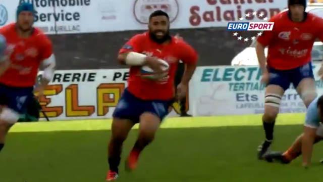 VIDÉO. Pro D2 : Le talonneur d'Aurillac inscrit un essai de 50 mètres en mode Jonah Lomu contre l'USAP