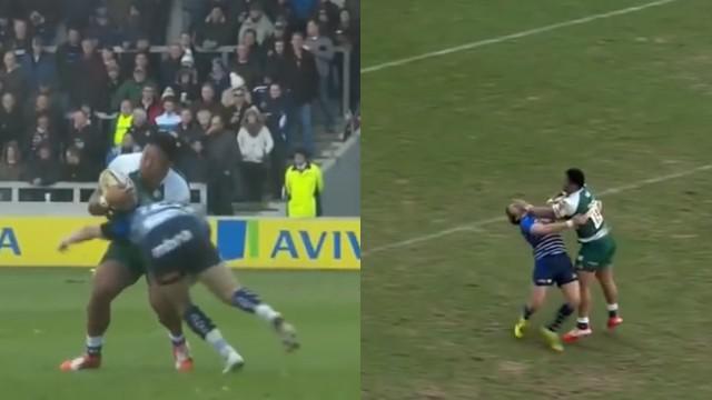 VIDEO. Premiership. Manu Tuilagi punit deux adversaires avec son gros cuisseau et son fulguro-raffut