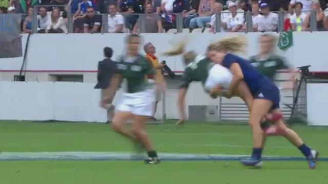 VIDEO. Coupe du monde rugby féminin. Ashleigh Baxter laisse sa hanche sur la pelouse après un caramel de Marjorie Mayans