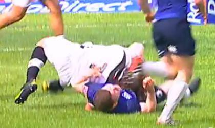 Le plaquage sans ballon de Mauro Bergamasco sur O'Driscoll