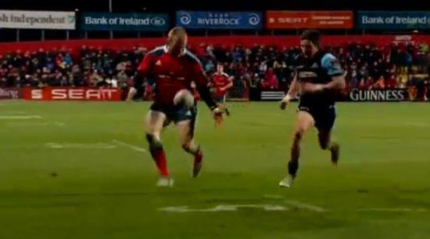 VIDEO. Pro 12 - Munster : l'essai spectaculaire de Keith Earls après un contrôle du pied en pleine course
