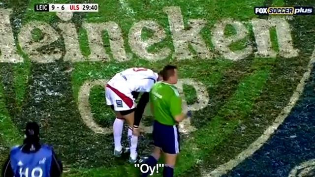 VIDEO H Cup : entre humour et sérieux, Nigel Owens mouche un joueur de Leicester