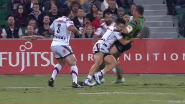 VIDEO. NRL - Le plaquage très solide du petit Shaun Johnson sur la machine Sam Burgess