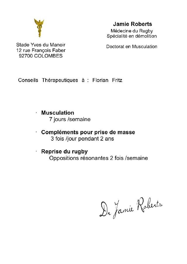 Top 14 - Stade Toulousain. Découvrez les ordonnances secretes adressées à Florian Fritz après son K-O