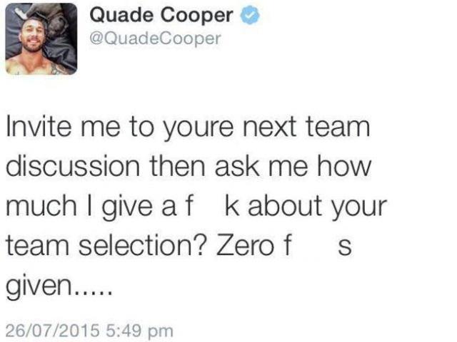 WALLABIES. Quade Cooper craque sur Twitter après un article critiquant son niveau de jeu