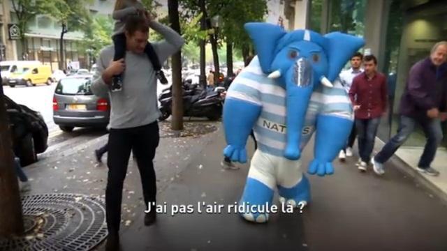 VIDEO. INSOLITE : Quand Chris Masoe se promène en éléphant sur les Champs-Elysées