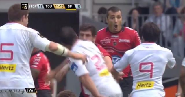 VIDÉO. RCT - Stade Français : Konstantin Mikautadze prend un carton rouge pour un coup de pied sur Alexandre Flanquart