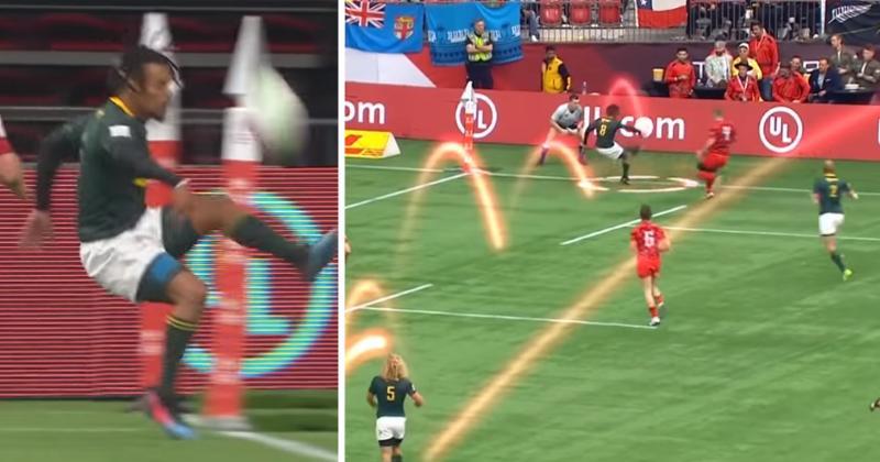 Rugby à 7 : le skill au pied incroyable de Selvyn Davids pour sauver la touche ! [VIDEO]