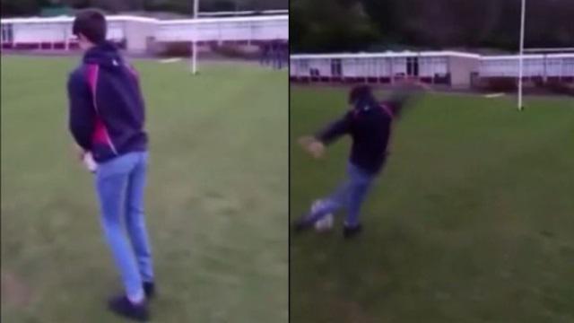VIDEO. Rugby amateur #47 : ce jeune joueur invente le drop avec un coup du foulard