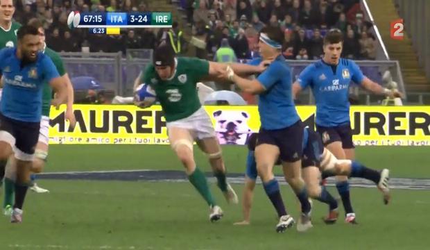 VIDEO. 6 nations. Le 3e ligne irlandais Tommy O'Donnell fait parler ses cannes sur 40m et ridiculise l'Italie