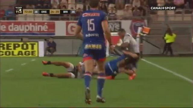 GIF. Top 14 - FCG. Albertus Buckle réalise un double plaquage pour stopper la menace Masilevu