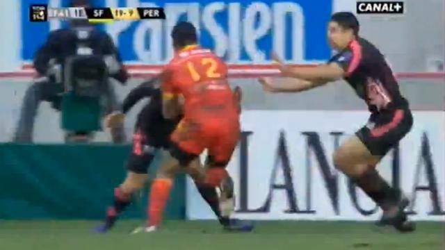 VIDEO. Top 14 - USAP : Watisoni Votu vendange un trois contre un face au Stade français