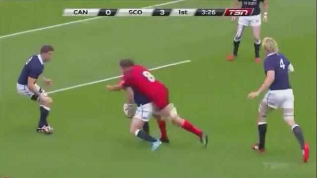 VIDEO. La superbe action du troisième ligne du Canada Tyler Ardron avec un beau plaquage offensif sur Peter Horne