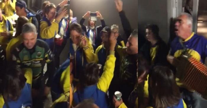 VIDÉO. Insolite : au son de l'accordéon, les supporters de Clermont et de Northampton font la fête