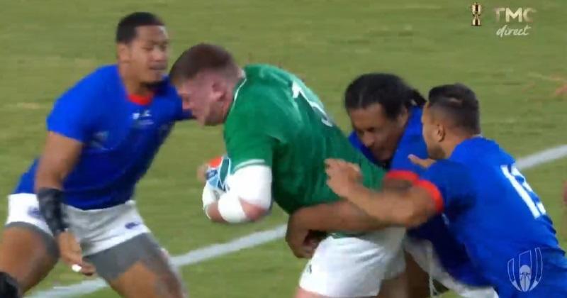 VIDÉO - Irlande : la charge phénoménale du pilier Tadgh Furlong qui marque face aux Samoa !